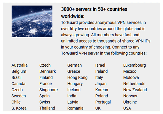 Servers and countries