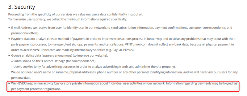 VPNTunnel privacy policy