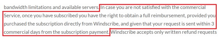Windscribe cancellation policy