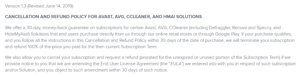 Avast cancellation policy