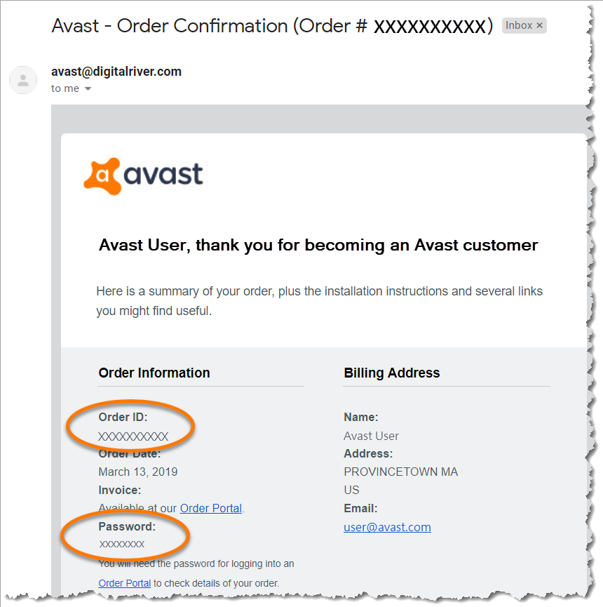 Avast customer ID and password