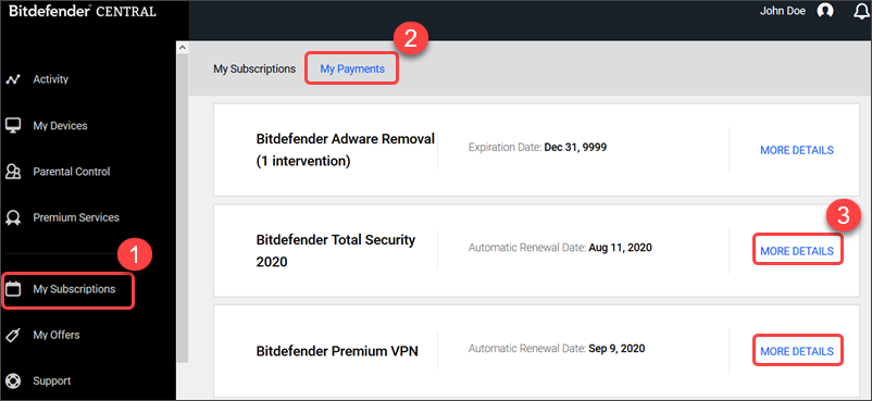 Bitdefender account