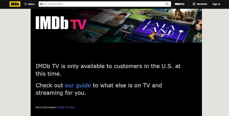 IMDb TV error message
