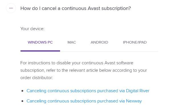 Link to cancel Avast Secureline VPN