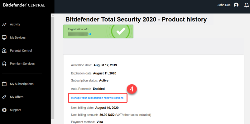 Manage subscription Bitdefender