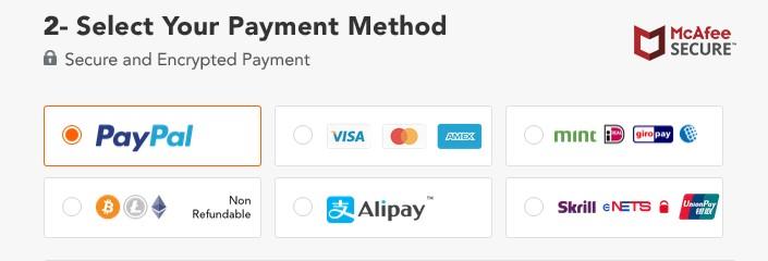 PureVPN payment choices