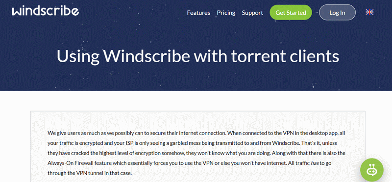 Windscribe torrenting