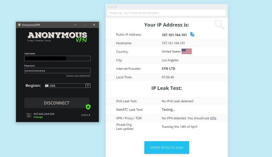 Anonymous VPN IP Leak Test