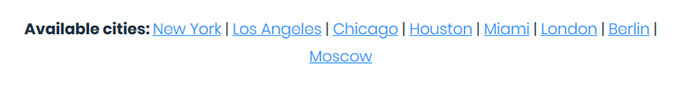 Available cities Smartproxy