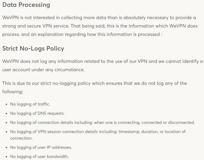 WeVPN Privacy Policy