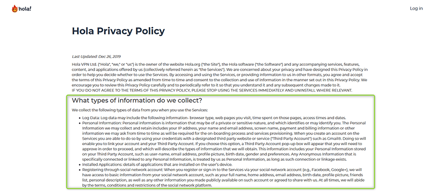 Hola VPN log policy