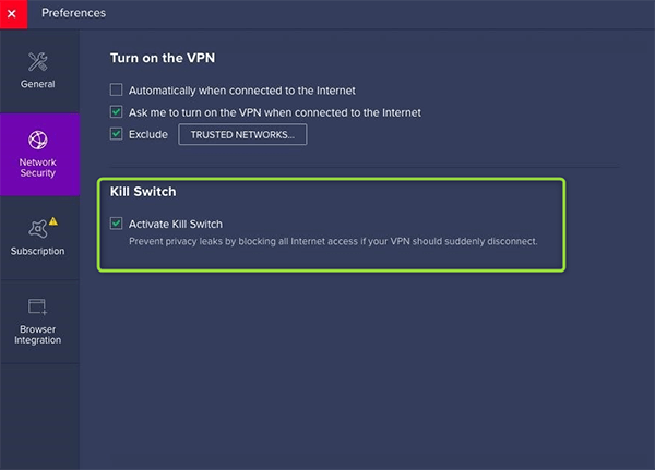 Kill Switch Avast SecureLine