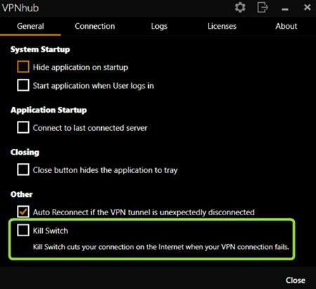 Kill Switch VPNhub
