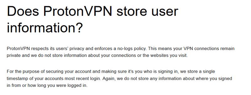 ProtonVPN Privacy Policy