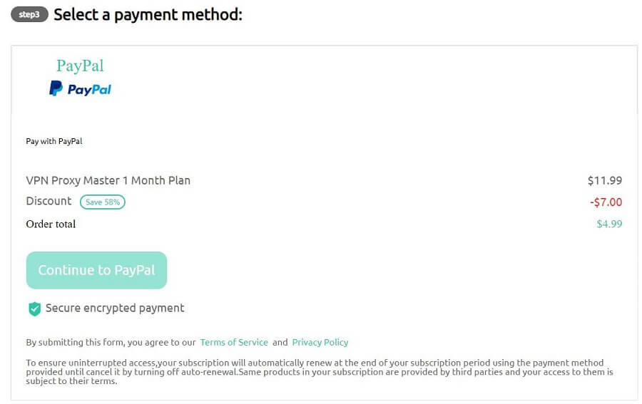Proxy Master VPN Payment Methods