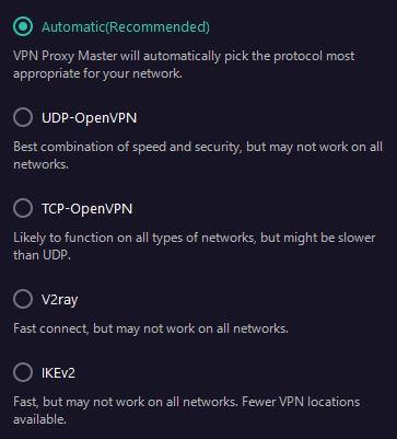 Proxy Master VPN Protocols