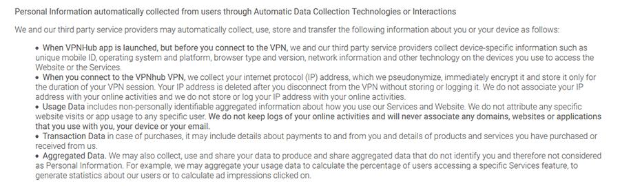 VPNhub log policy