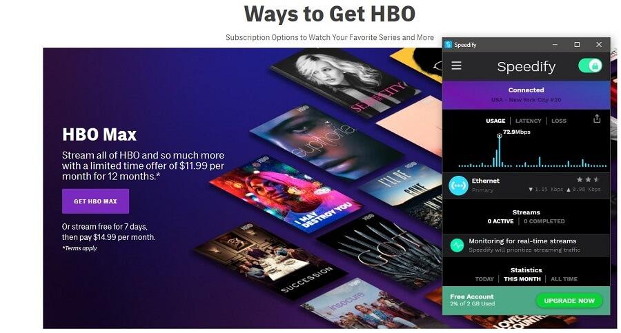 Speedify VPN HBO GO