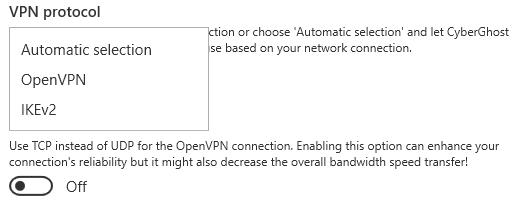 CyberGhost Protocols