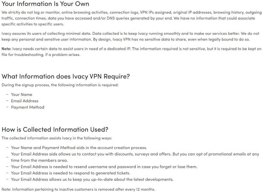 Ivacy VPN Privacy Policy