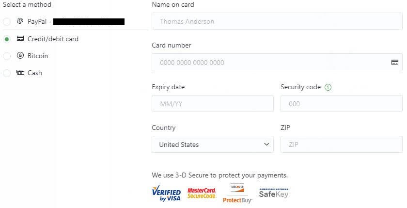 ProtonVPN Payment Methods.