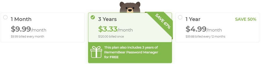 TunnelBear Pricing
