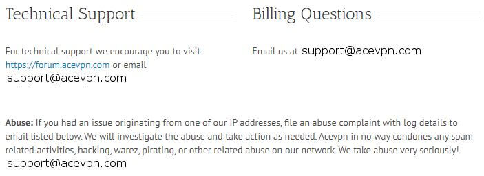 Ace VPN Support