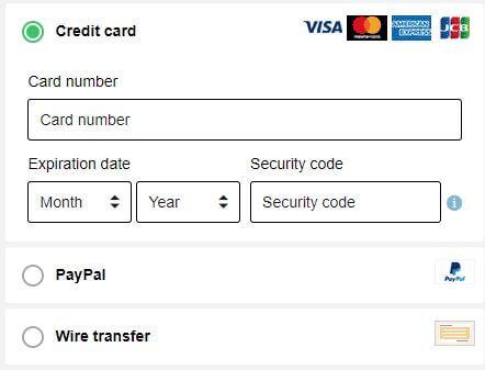 Bullguard VPN Payment Methods