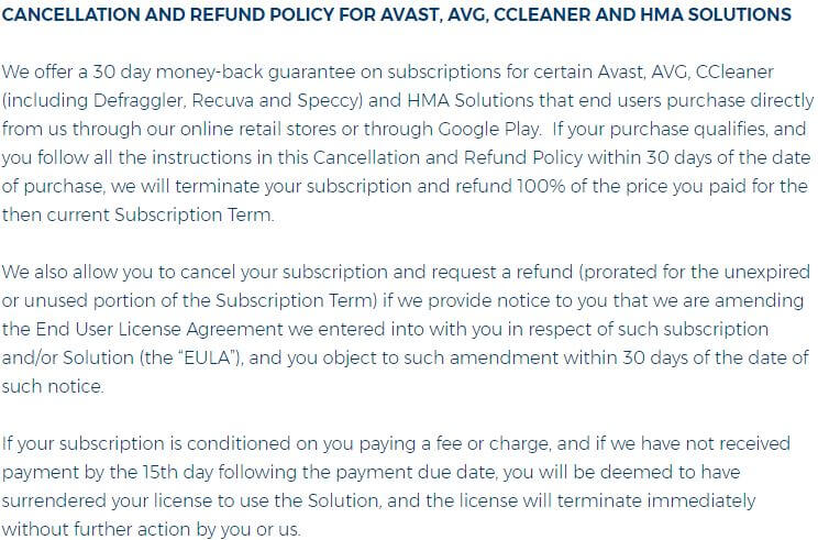 HideMyAss Refund Policy
