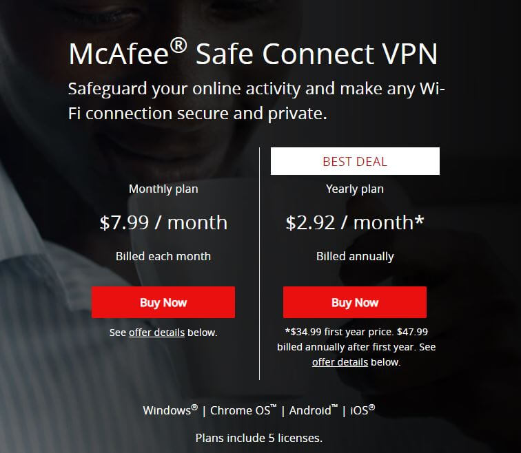 McAfee Safe Connect Devices