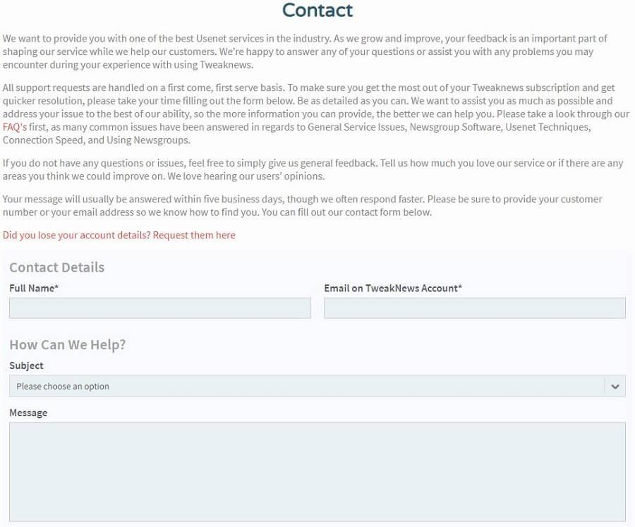 Tweaknews VPN Support