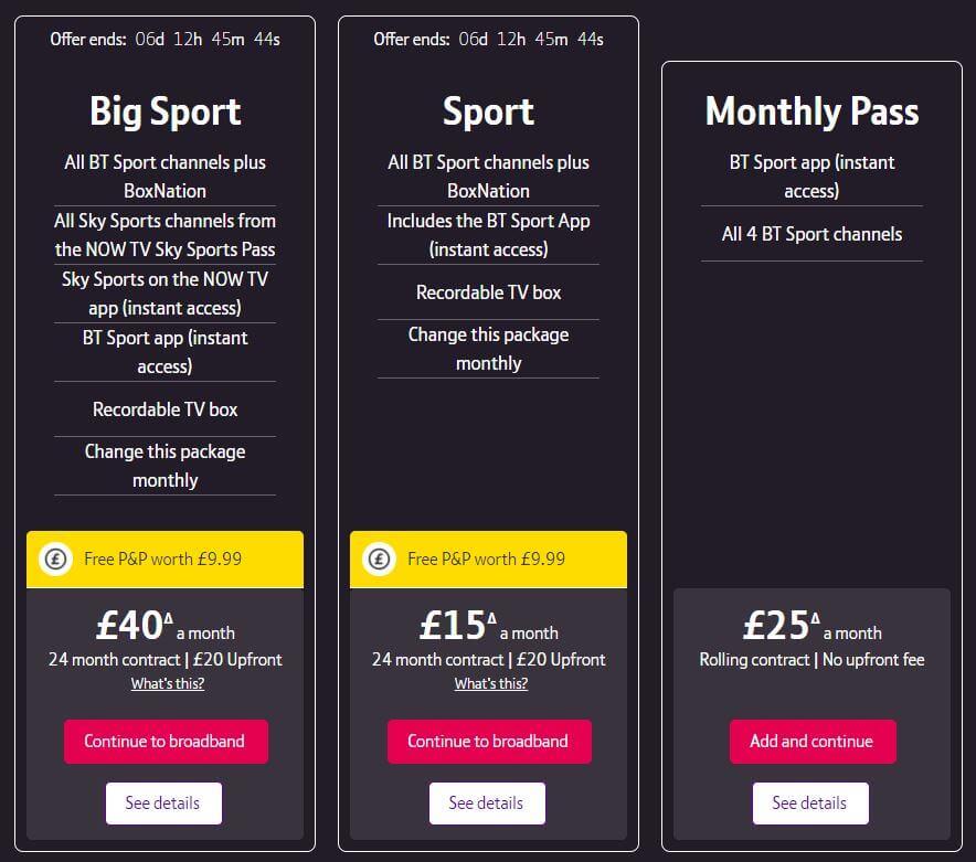 BT Sport Prices 2021