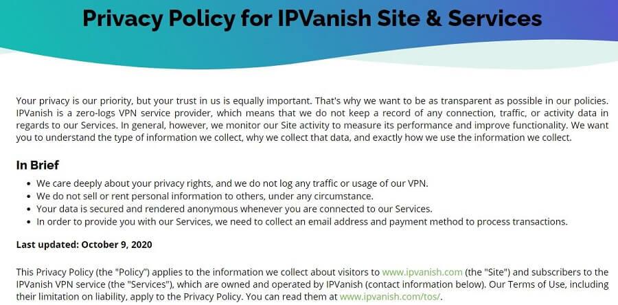 IPVanish Policy